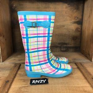 LL Bean Waterproof Wellie Rain Boot Summer Plaid